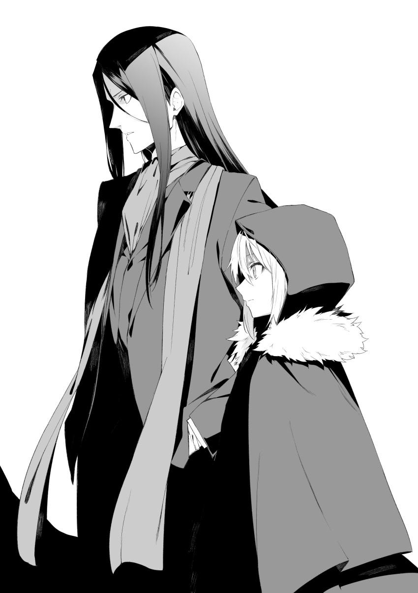 1boy 1girl absurdres cloak fate_(series) fur_trim gray_(lord_el-melloi_ii) greyscale hands_in_pockets highres hood hooded_cloak long_coat long_hair lord_el-melloi_ii lord_el-melloi_ii_case_files monochrome profile scarf tsukamoto_minori waver_velvet