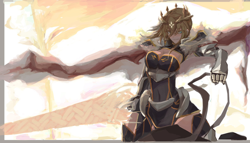 1girl artoria_pendragon_(all) artoria_pendragon_(lancer) blue_gloves blue_legwear braid breasts cape commentary_request crown fate/grand_order fate_(series) french_braid fur-trimmed_cape fur_trim gauntlets gloves green_eyes grin hair_between_eyes highres lance large_breasts looking_at_viewer polearm red_cape reins rhongomyniad sidelocks smile taitaip weapon