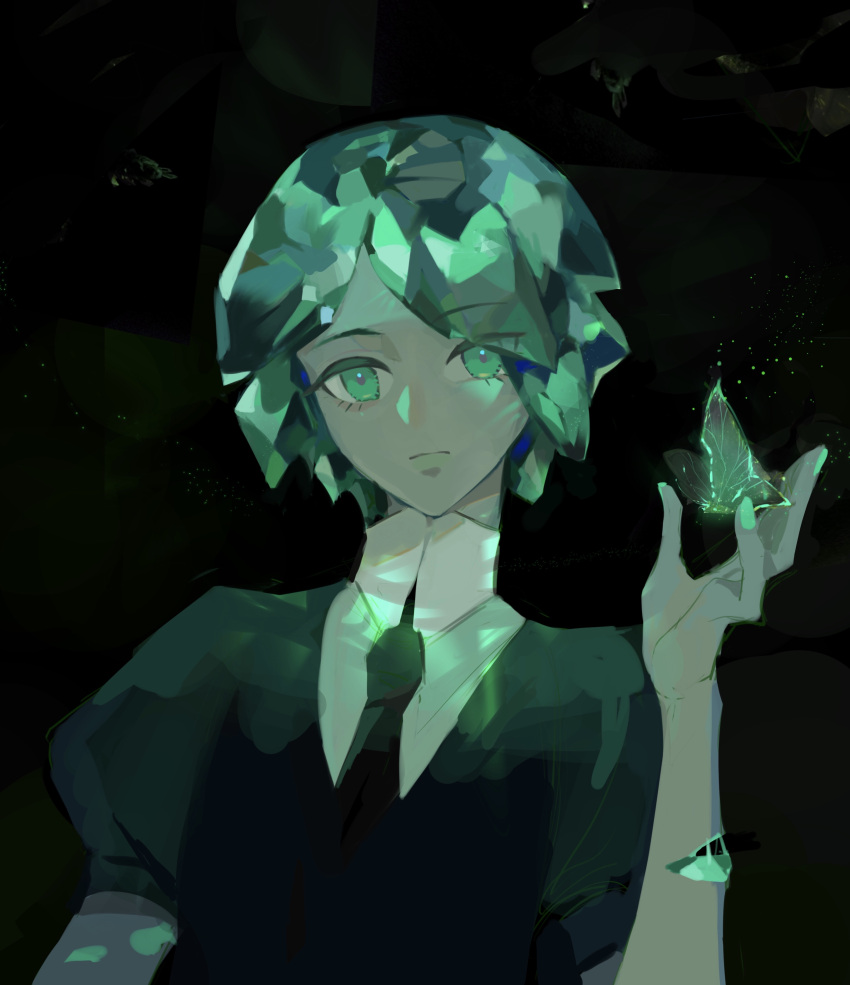 1other absurdres androgynous bug butterfly colored_eyelashes crystal_hair dark_background expressionless eyebrows_visible_through_hair eyes_visible_through_hair gem_uniform_(houseki_no_kuni) green_eyes green_hair highres houseki_no_kuni insect looking_at_viewer momosa_(472166143) necktie phosphophyllite short_hair solo upper_body