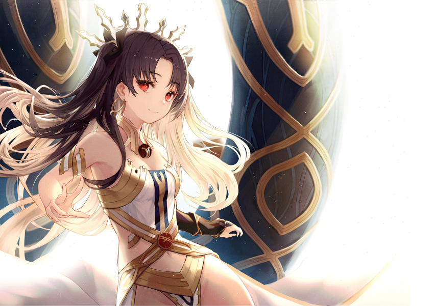 1girl armlet asymmetrical_legwear asymmetrical_sleeves bad_id bad_pixiv_id bangs bare_shoulders black_hair blush breasts bridal_gauntlets commentary_request crown detached_collar earrings elbow_gloves fate/grand_order fate_(series) gloves hair_ribbon highres hoop_earrings ishtar_(fate/grand_order) jewelry long_hair looking_at_viewer medium_breasts navel neck_ring parted_bangs pelvic_curtain red_eyes ribbon single_elbow_glove single_thighhigh smile solo thigh-highs two_side_up yohaku