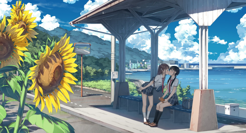 2girls bag black_hair black_legwear blue_skirt boat book brown_hair building bus_stop city closed_eyes clouds commentary_request couple day flower grass hair_ornament hairclip highres holding holding_book kantoku kiss kiss_day kneehighs leaning_forward loafers medium_hair mountain multiple_girls necktie ocean original plaid plaid_skirt pole road scenery school_uniform shade shoes short_sleeves sitting skirt sky socks standing summer sunflower twintails uniform watercraft white_legwear wide_shot yuri