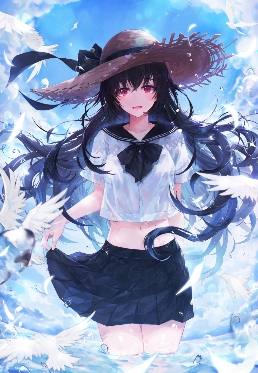 1girl :d absurdres bangs black_hair black_neckwear black_ribbon black_skirt blue_sky blush bow bowtie breasts clouds commentary cropped_shirt crystalherb day eyebrows_visible_through_hair feathers floating_hair hat hat_ribbon highres huge_filesize long_hair looking_at_viewer medium_breasts open_mouth original pleated_skirt red_eyes ribbon sailor_collar school_uniform shirt skirt skirt_hold sky smile solo straw_hat very_long_hair wading water_drop wet wet_clothes white_shirt wind