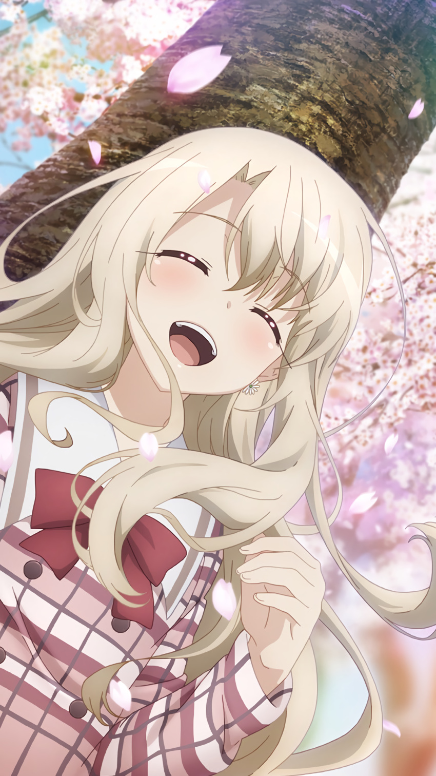 1girl :d absurdres against_tree bow bowtie cherry_blossoms closed_eyes day dutch_angle eyebrows_visible_through_hair fate/kaleid_liner_prisma_illya fate_(series) floating_hair from_below highres illyasviel_von_einzbern long_hair long_sleeves official_art open_mouth outdoors petals plaid plaid_shirt red_bow red_neckwear sailor_collar shiny shiny_hair shirt silver_hair smile solo tree upper_body very_long_hair white_sailor_collar