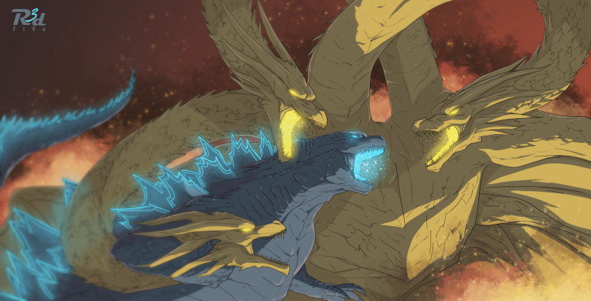 2others absurdres artist_name battle blurry claws commentary_request depth_of_field embers fangs fire glowing glowing_eyes glowing_mouth godzilla godzilla:_king_of_the_monsters godzilla_(series) highres kaijuu king_ghidorah king_ghidorah_(godzilla:_king_of_the_monsters) long_neck monster multiple_heads multiple_others open_mouth r3dfive spikes spines tail upper_body wings