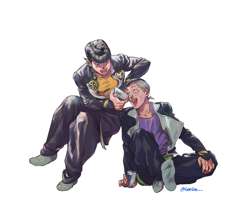 2boys :d black_hair blue_eyes blush diamond_wa_kudakenai gakuran higashikata_jousuke highres jacket jojo_no_kimyou_na_bouken male_focus multiple_boys nijimura_okuyasu no_shoes open_clothes open_jacket open_mouth photo_(object) pompadour school_uniform sitting smile socks tangsong