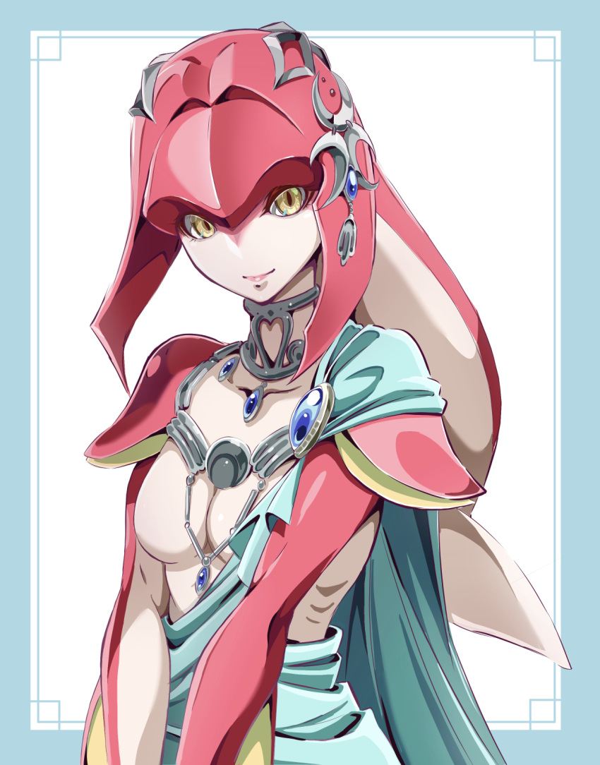 1girl breasts closed_mouth crescent fish_girl gem gills highres jewelry looking_at_viewer mipha monster_girl multicolored multicolored_skin neck_ring ngv3553 no_eyebrows no_nipples no_nose red_skin small_breasts smile solo the_legend_of_zelda the_legend_of_zelda:_breath_of_the_wild two-tone_skin upper_body v_arms white_skin yellow_eyes zora