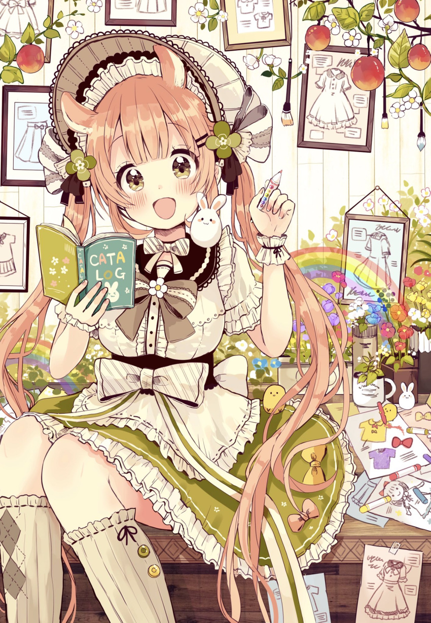 1girl :d animal animal_ears animal_on_shoulder apron bangs bird blue_flower blunt_bangs blush bonnet book bow breasts brown_bow brown_eyes brown_hair brown_legwear center_frills chick colored_pencil commentary_request diagonal_stripes eyebrows_visible_through_hair fingernails flower frilled_apron frilled_skirt frills green_skirt hair_ornament hairclip hands_up head_tilt highres holding holding_book holding_pencil kneehighs long_hair medium_breasts open_book open_mouth original otoko_no_ko pencil picture_frame puffy_short_sleeves puffy_sleeves purple_flower rabbit rainbow red_flower ribbed_legwear ribbon-trimmed_legwear ribbon_trim sakura_oriko shirt short_sleeves sitting skirt smile solo striped twintails very_long_hair waist_apron white_apron white_bow white_flower white_headwear white_shirt wrist_cuffs yellow_flower