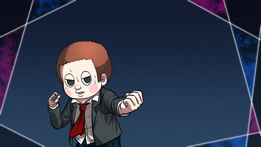1boy black_eyes blue_pants blush brown_hair clenched_hand danganronpa dress_shirt grey_jacket half-closed_eyes holding hoshi_ryouma jacket long_hair long_sleeves male_focus new_danganronpa_v3 no_hat no_headwear official_alternate_costume official_style open_clothes open_jacket outstretched_arm pants plaid plaid_pants red_neckwear school_uniform shirt short_hair solo standing sweatdrop very_long_hair white_shirt yumaru_(marumarumaru)