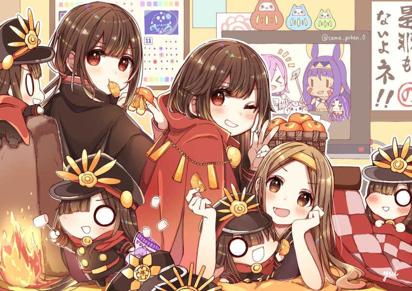 1boy 2girls arm_up artist_name aunt_and_niece bangs basket belt black_cape black_dress black_jacket black_pants brother_and_sister brown_eyes brown_hair calendar_(object) cape chacha_(fate/grand_order) chibi chin_rest commentary_request creature dress eating eyebrows_visible_through_hair family_crest fate/grand_order fate_(series) fire food fou_(fate/grand_order) fruit hair_ornament hairband hand_up hat hi_(wshw5728) highres holding holding_food holding_fruit indoors jacket koha-ace kotatsu long_hair looking_at_viewer mandarin_orange marshmallow matryoshka_doll military military_hat military_uniform mouth_hold multiple_girls oda_nobukatsu_(fate/grand_order) oda_nobunaga_(fate) oda_uri one_eye_closed open_mouth outline pants peaked_cap red_cape red_eyes roasting siblings sidelocks sleeveless sleeveless_dress smile table uncle_and_niece uniform v very_long_hair