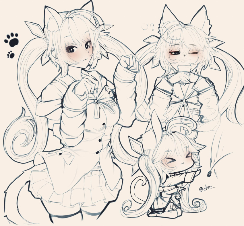 1girl ahoge animal_ears bangs blush breasts buttons cat_ears cat_tail chibi coffee_cup commentary cup disposable_cup ehrrr eyebrows_visible_through_hair fake_animal_ears fake_tail girls_frontline hair_ornament highres jacket long_hair looking_at_viewer m14_(girls_frontline) monochrome multiple_views paw_pose ribbon shirt skirt smile tail thigh-highs twintails