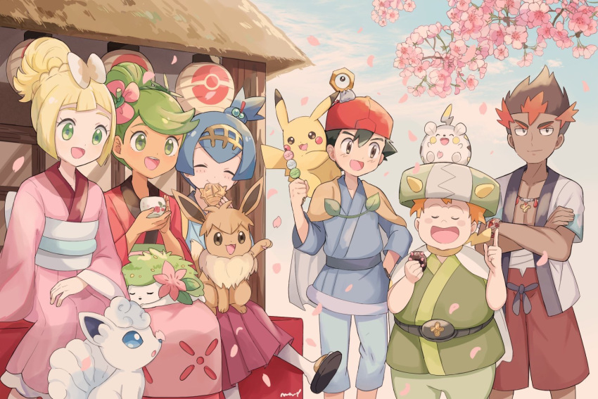 3boys 3girls :d alolan_form alolan_vulpix baseball_cap black_hair blonde_hair blue_hair blue_sky cape cherry_blossoms closed_eyes closed_mouth clouds commentary crossed_arms cup dango dark_skin dark_skinned_male day eating eevee flower food gen_1_pokemon gen_4_pokemon gen_7_pokemon green_eyes green_hair hair_flower hair_ornament hairband hat highres holding holding_cup holding_food japanese_clothes kaki_(pokemon) kimono lillie_(pokemon) long_hair long_skirt long_sleeves mamane_(pokemon) mao_(pokemon) mei_(maysroom) meltan multicolored_hair multiple_boys multiple_girls obi open_mouth orange_hair outdoors petals pikachu pokemon pokemon_(anime) pokemon_(creature) pokemon_on_head pokemon_on_lap pokemon_on_shoulder pokemon_sm_(anime) redhead sanshoku_dango sash satoshi_(pokemon) shaymin short_hair signature sitting skirt sky smile spiky_hair spring_(season) suiren_(pokemon) symbol_commentary togedemaru trial_captain vulpix wagashi white_legwear wide_sleeves z-ring