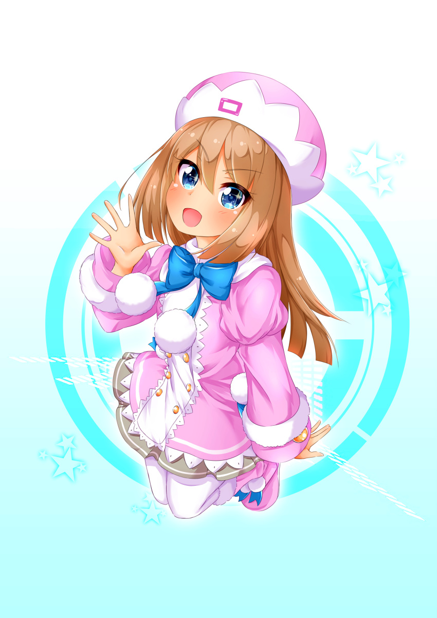 1girl :d absurdres blue_background blue_eyes blush boots brown_hair full_body fur-trimmed_boots fur-trimmed_jacket fur-trimmed_sleeves fur_trim grey_skirt hair_between_eyes hand_up hat highres jacket long_hair looking_at_viewer moesode_i neptune_(series) open_mouth pantyhose pink_coat pink_footwear pleated_skirt pom_pom_(clothes) ram_(neptune_series) skirt smile solo star starry_background waving white_legwear
