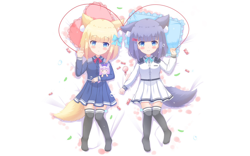 2girls absurdres animal_ear_fluff animal_ears bangs bed_sheet black_legwear blonde_hair blue_bow blue_eyes blue_shirt blue_skirt blunt_bangs blush bow breasts candy candy_wrapper character_doll character_request closed_mouth collared_shirt commentary_request doll_hug dress_shirt epaulettes eyebrows_visible_through_hair food frilled_pillow frills hair_bow hair_ornament hairclip hand_up heart heart_pillow highres liang_feng_qui_ye lollipop long_sleeves multiple_girls no_shoes pillow pleated_skirt purple_hair red_string rukiroki sasugano_roki sasugano_ruki shirt skirt small_breasts smile string swirl_lollipop tail thigh-highs white_shirt white_skirt