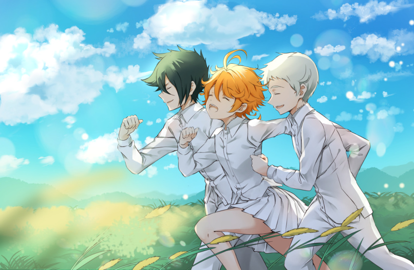 1girl 2boys :d ahoge blonde_hair blue_sky closed_eyes clouds collared_shirt day dress_shirt emma_(yakusoku_no_neverland) from_side grass green_hair lens_flare long_sleeves melings_(aot2846) miniskirt multiple_boys norman_(yakusoku_no_neverland) open_mouth outdoors pants pleated_skirt ray_(yakusoku_no_neverland) running shirt short_hair silver_hair skirt sky smile white_pants white_shirt white_skirt wing_collar yakusoku_no_neverland