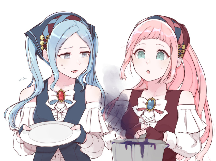 2girls artist_name bad_food bandana blue_eyes blue_hair commentary_request felicia_(fire_emblem_if) fingerless_gloves fire_emblem fire_emblem_heroes fire_emblem_if flora_(fire_emblem_if) gloves grey_eyes highres holding holding_plate holding_pot long_hair long_sleeves multiple_girls open_mouth pink_hair plate ponytail pot siblings simple_background sisters solfa_(gikosweety) sweatdrop twintails upper_body white_background