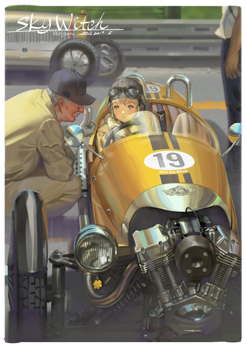 1boy 1girl alphonse_(white_datura) baseball_cap blonde_hair commentary_request goggles goggles_on_head grey_hair hat highres hood jacket mechanic original overalls racecar racetrack violet_eyes