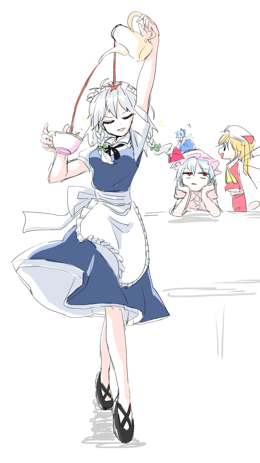 4girls :d absurdres apron arm_up ascot bangs black_footwear black_neckwear black_ribbon blue_bow blue_dress blue_hair bow braid breasts cirno closed_eyes commentary_request cross-laced_footwear cup dress eyebrows_visible_through_hair facing_viewer failure flandre_scarlet frilled_apron frills from_side full_body green_bow hair_bow hands_up hat hat_ribbon head_rest head_tilt highres holding holding_cup holding_teapot ice ice_wings izayoi_sakuya jitome looking_up maid maid_headdress medium_breasts mob_cap multiple_girls neck_ribbon one_side_up open_mouth paruna_(mariko_marimo9) petticoat pinafore_dress pink_dress pink_headwear profile puffy_short_sleeves puffy_sleeves red_eyes red_ribbon red_skirt red_vest remilia_scarlet ribbon shadow shirt shoes short_hair short_sleeves silver_hair simple_background sketch skirt skirt_set smile standing teacup teapot touhou twin_braids upper_body vest waist_apron white_apron white_background white_headwear white_shirt wings yellow_neckwear you're_doing_it_wrong