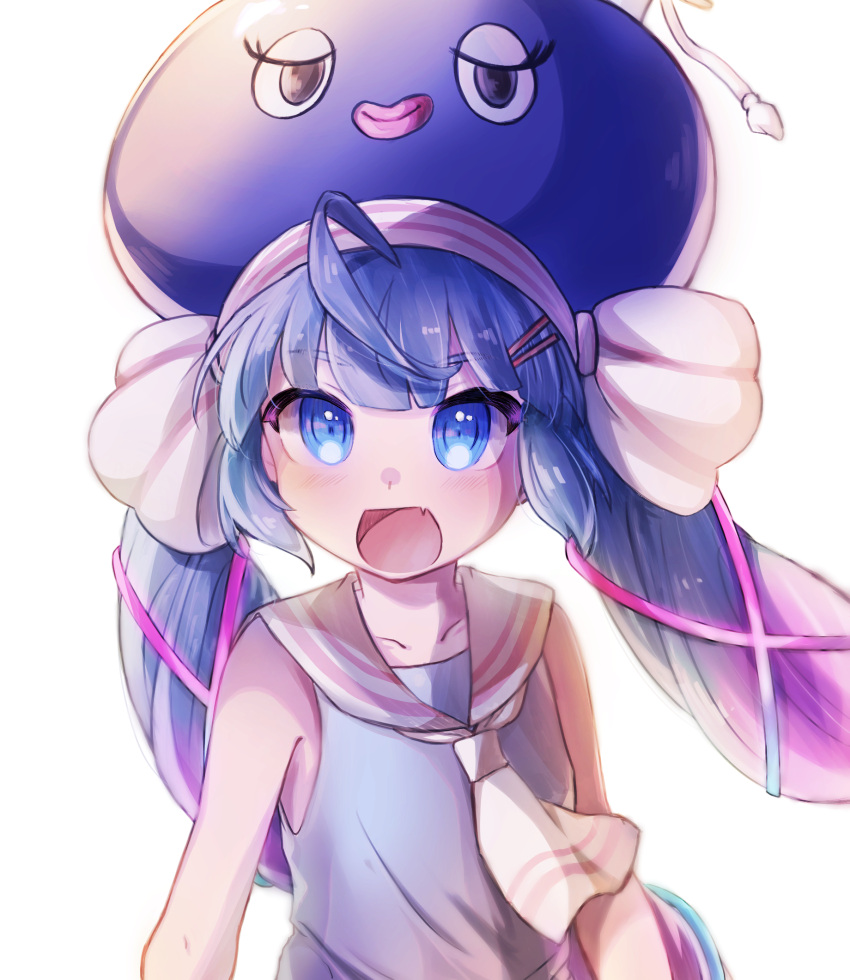 1girl blue_eyes blue_hair blush eel_hat fang hat highres imamiya_pinoko long_hair looking_at_viewer open_mouth otomachi_una sailor_collar short_sleeves solo twintails very_long_hair vocaloid