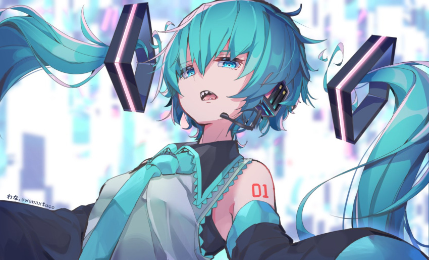 1girl alternate_hairstyle aqua_eyes aqua_hair bare_shoulders commentary detached_hair detached_sleeves hair_ornament hatsune_miku headset highres long_hair looking_at_viewer looking_down necktie open_mouth outstretched_arms sharp_teeth shirt short_hair shoulder_tattoo sleeveless sleeveless_shirt sleeves_past_wrists solo tattoo teeth twintails upper_body very_long_hair vocaloid wanaxtuco