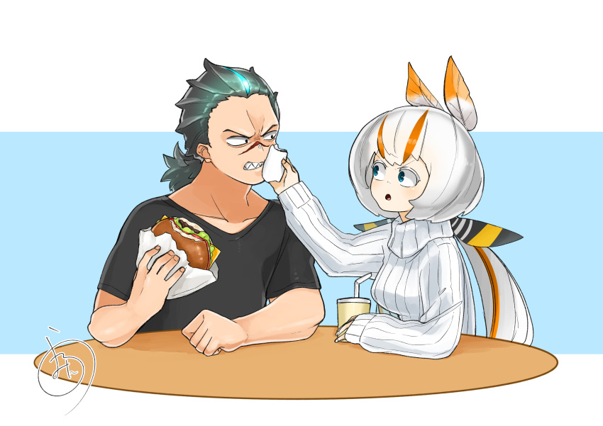 absurdres black_hair blue_eyes cup disposable_cup drinking_straw ears food glowing glowing_hair godzilla godzilla:_king_of_the_monsters godzilla_(2014) godzilla_(series) hamburger highres matarou0625 mothra mothra_(godzilla:_king_of_the_monsters) napkin personification ponytail ribbed_sweater scar scolding sharp_teeth shirt sweater t-shirt table teeth tied_hair white_hair wiping_mouth