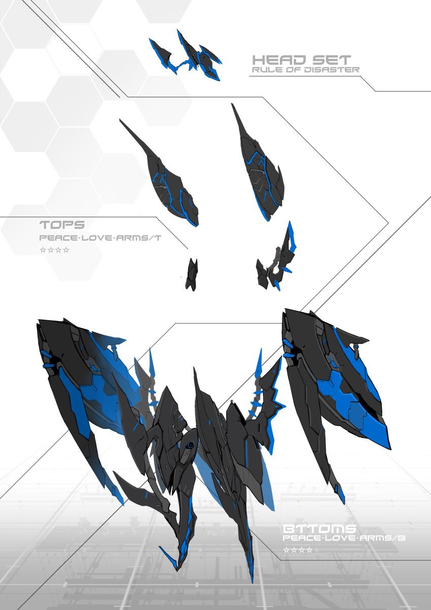 absurdres alice_gear_aegis armor character_sheet equipment_screen flat_color headgear highres kuri_giepi mecha_musume neon_trim no_humans