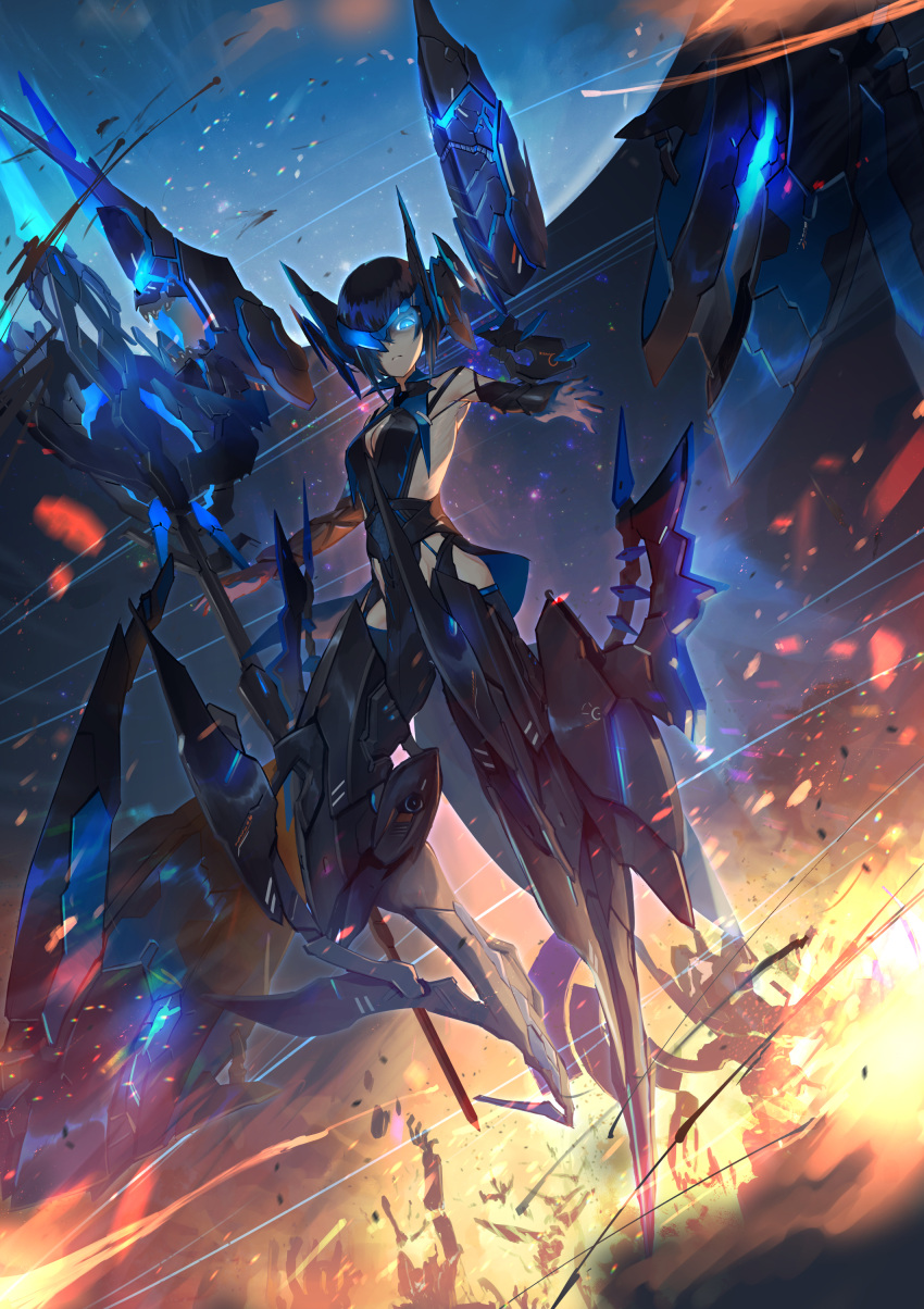 1girl absurdres alice_gear_aegis armor black_hair blue_eyes blue_hair breasts commentary_request destruction embers explosion frown glowing glowing_eyes hair_over_one_eye highres kuri_giepi looking_at_viewer looking_down mecha_musume medium_breasts multicolored_hair neon_trim pelvic_curtain reaching_out rubble short_hair two-tone_hair visor