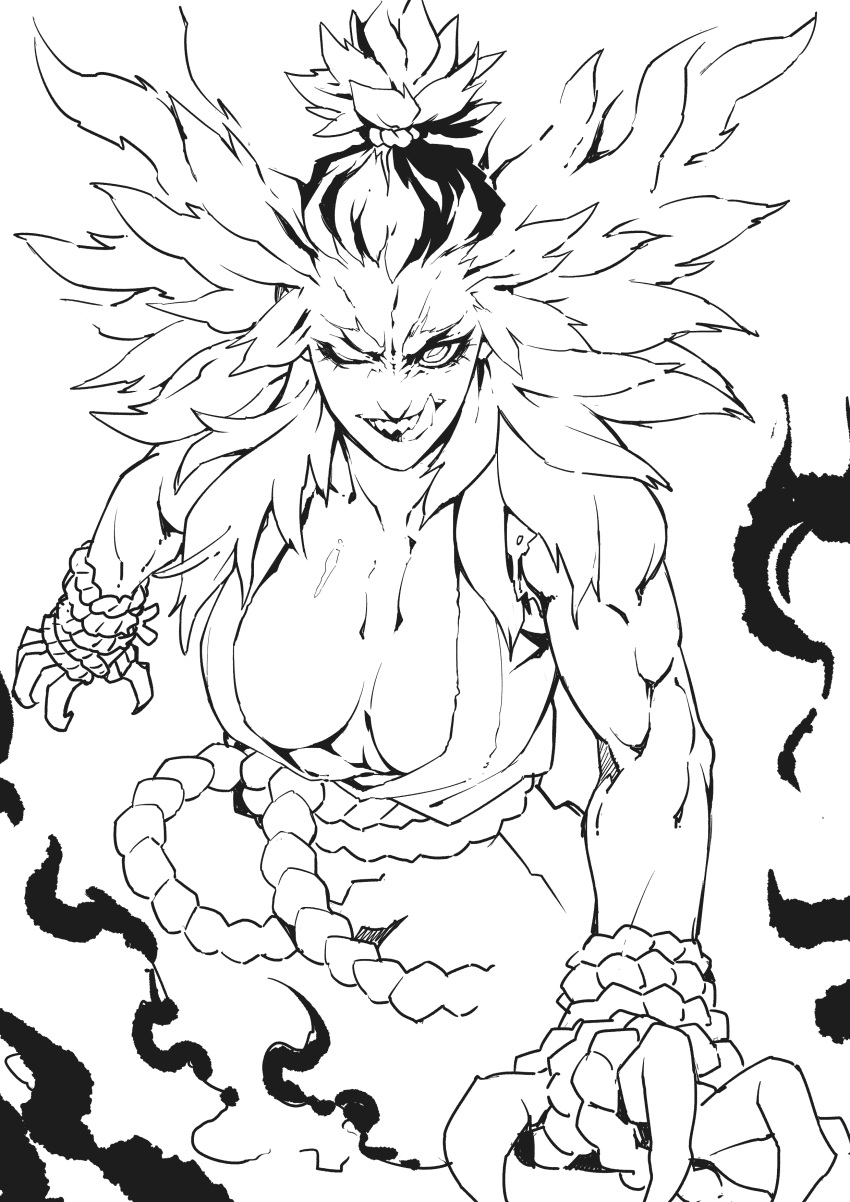 1girl absurdres belt breasts claws deathwingxiii demon_girl genderswap gouki greyscale highres large_breasts licking_lips medium_hair monochrome muscle muscular_female one_eye_closed road rope_belt sharp_teeth shiny shiny_skin smile smoke solo street street_fighter teeth tied_hair tongue tongue_out upper_body upper_teeth