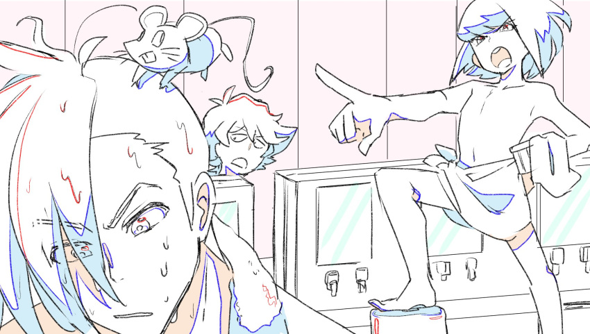 3boys bucket color_trace creator_connection eyes_visible_through_hair galo_thymos gueira highres lio_fotia male_focus mouse multiple_boys naked_towel no_nipples onsen open_mouth parody pointing promare sidelocks spiky_hair tengen_toppa_gurren_lagann towel undercut vinny_(promare) wet