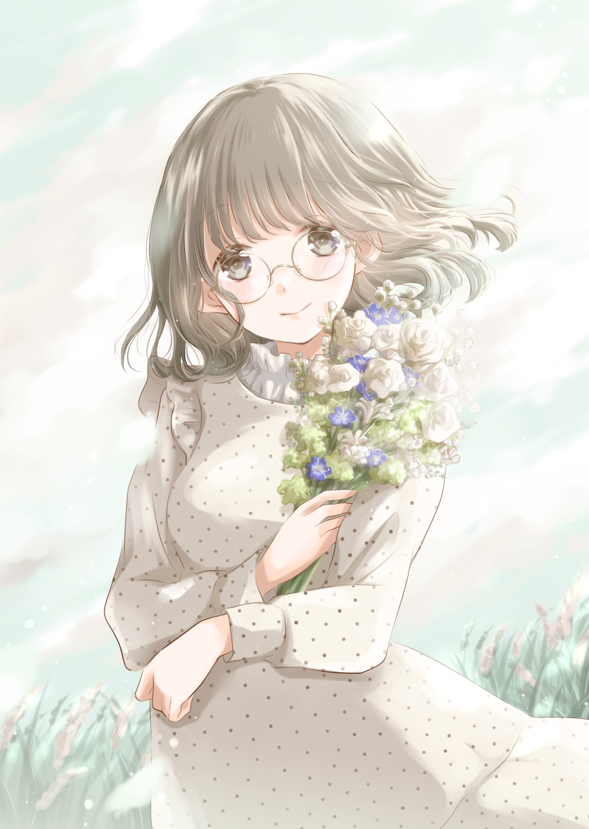 1girl absurdres arm_across_chest bangs blue_sky blush bouquet breasts brown_eyes clouds commentary_request contrapposto day dress flower glasses grass hair_blowing head_tilt highres holding holding_bouquet hoshiibara_mato light_brown_hair long_sleeves looking_at_viewer medium_breasts medium_hair original outdoors polka_dot polka_dot_dress rose shirt_under_dress sky sleeve_cuffs smile solo standing white_dress white_flower white_rose