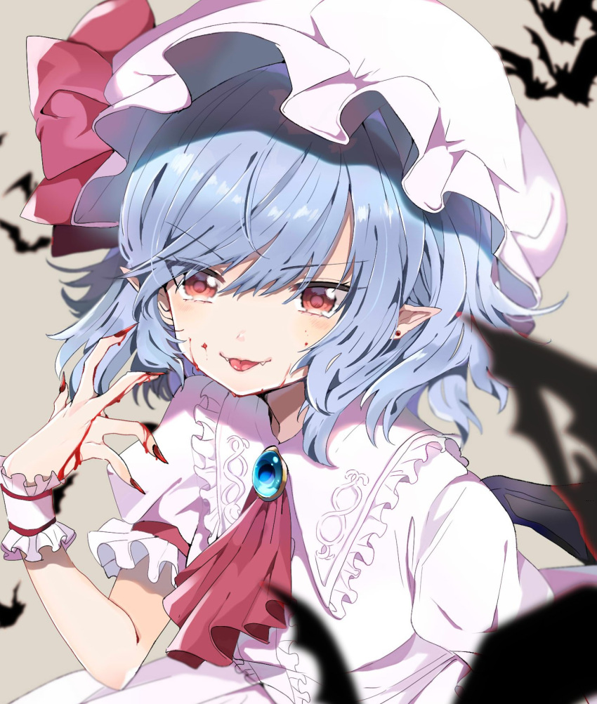 >:) 1girl :p ascot bangs bat bat_wings blood blood_on_face bloody_hands blue_hair blush bow brooch center_frills commentary dress ear_piercing eyebrows_visible_through_hair fangs fangs_out fingernails frilled_shirt_collar frills grey_background hair_between_eyes hand_up hat hat_bow highres jewelry looking_at_viewer mob_cap nail_polish piercing pointy_ears puffy_short_sleeves puffy_sleeves red_bow red_eyes red_nails red_neckwear remilia_scarlet satoupote sharp_fingernails short_hair short_sleeves simple_background smile solo symbol_commentary tongue tongue_out touhou upper_body v-shaped_eyebrows white_dress white_headwear wings wrist_cuffs