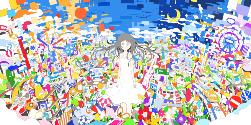 1girl aircraft airplane ball bangs blue_flower book bookshelf building cake camera car castle chain clouds crescent_moon cup dress egg eighth_note electric_guitar eraser expressionless feet_out_of_frame ferris_wheel fish flat_color floating_hair flower food fork frying_pan gears glasses grey_hair ground_vehicle guitar hebitsukai hot_air_balloon instrument kendama key keyboard_(instrument) keyhole knife leaf long_hair looking_at_viewer moon motor_vehicle musical_note open_book orange_flower original paper paperclip purple_flower rain red_flower red_footwear road road_sign satellite saturn scissors shoes sign solo sparkle spoon stairs star_(sky) sun sunny_side_up_egg umbrella water white_dress yellow_flower yo-yo