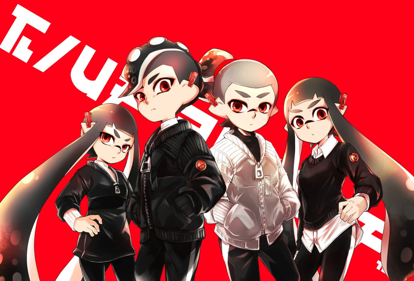 2boys 2girls bangs black_hair black_jacket black_pants black_sweater blunt_bangs closed_mouth collared_shirt domino_mask ear_clip frown gradient_hair grey_hair grey_jacket hair_ornament hair_scrunchie hand_on_hip hands_in_pockets head_tilt highres inkling inkling_(language) jacket logo long_hair long_sleeves looking_at_viewer maimo makeup mascara mask multicolored_hair multiple_boys multiple_girls octoling pants pointy_ears print_pants red_background red_eyes red_scrunchie red_theme scrunchie shirt short_hair simple_background single_vertical_stripe splatoon_(series) splatoon_2 standing suction_cups sweater tentacle_hair topknot very_long_hair white_shirt zipper zipper_pull_tab