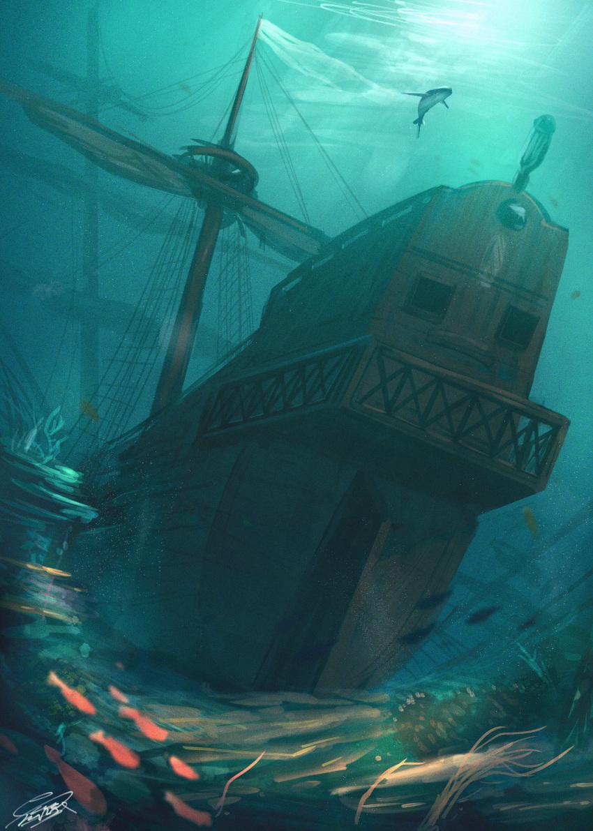 absurdres blue_theme highres huge_filesize mast no_humans ocean original raruru rigging scenery school_of_fish shark ship signature sketch underwater watercraft