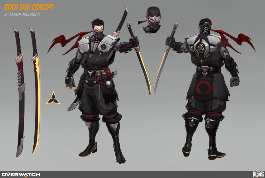 1boy absurdres aleksey_bayura between_fingers black_hair character_sheet collaboration covered_mouth cyborg dual_wielding face_mask full_body genji_(overwatch) grey_background heterochromia highres holding mask mechanical_eye ninja ninjatou overwatch reverse_grip scar scar_across_eye short_sword shoulder_armor shuriken solo sword vladimir_krisetskiy weapon