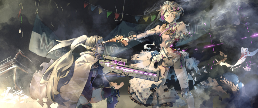 2girls aamond absurdres aiming alternate_costume commentary_request damaged english_text girls_frontline goggles goggles_on_head gun handgun highres injury jaeger_(girls_frontline) maid maid_headdress multiple_girls ponytail rifle sangvis_ferri shorts sniper_rifle surprised thompson/center_contender thompson/center_contender_(girls_frontline) torn_clothes weapon