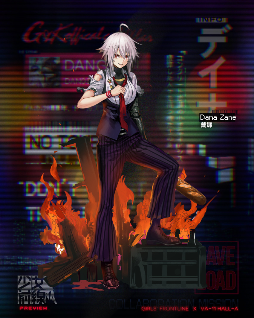 1girl ahoge boots character_name collared_shirt dana_zane full_body girls_frontline highres infukun looking_at_viewer mechanical_arm necktie official_art pants parted_lips purple_vest red_eyes red_neckwear shirt short_hair sidelocks solo striped striped_pants torn_clothes torn_shirt va-11_hall-a vest white_hair wristband