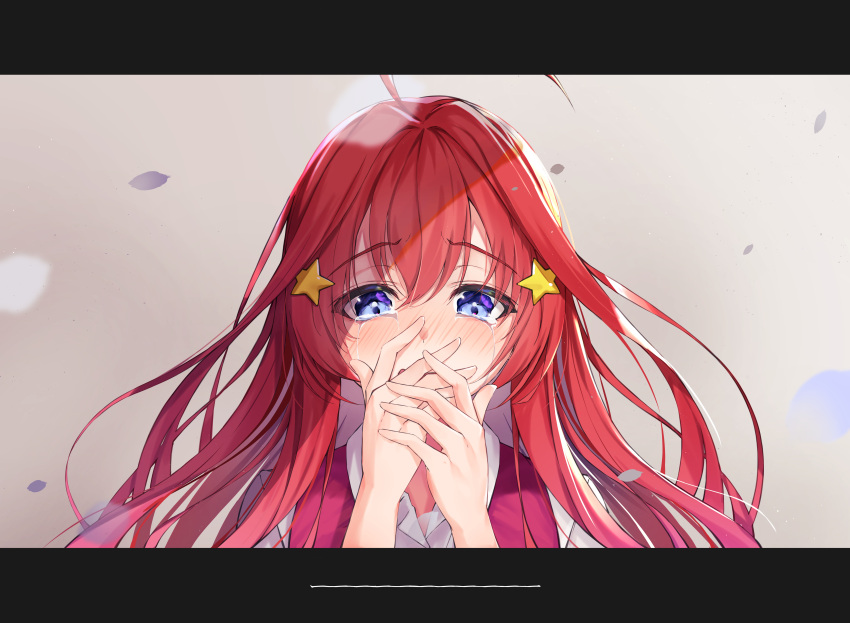 1girl absurdres ahoge bangs blue_eyes blush breasts crying crying_with_eyes_open eyebrows_visible_through_hair fuji_dorokai go-toubun_no_hanayome hair_between_eyes hair_ornament highres large_breasts letterboxed long_hair looking_at_viewer nakano_itsuki open_mouth pink_vest redhead shirt solo star star_hair_ornament tears vest white_shirt