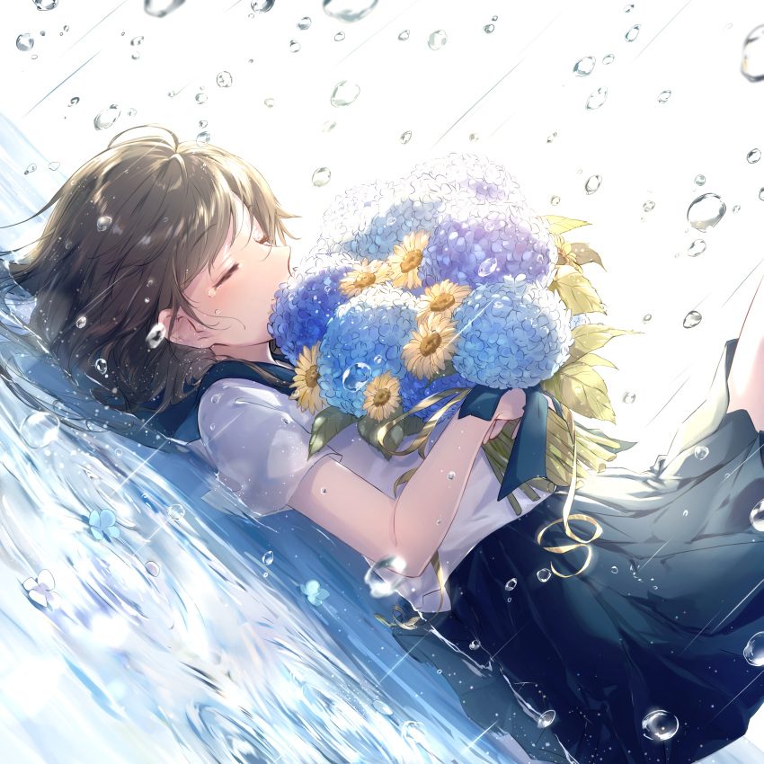 1girl absurdres blue_sailor_collar blue_skirt blush bouquet breasts brown_hair closed_mouth commentary_request crying dutch_angle flower from_side highres holding holding_bouquet hydrangea lying medium_breasts medium_skirt on_back original rain sailor_collar school_uniform sena_tea29 serafuku shallow_water shirt short_sleeves skirt smile solo sunflower tears water water_drop white_shirt
