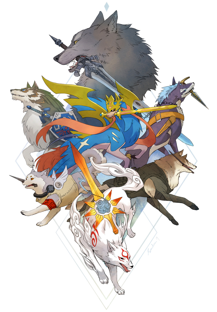 amaterasu angel_wings armband blue_eyes commentary crossover dagger dark_souls diamond_dog dog english_commentary fangs gen_8_pokemon great_grey_wolf_sif greatsword highres koromaru kunai leash link link_(wolf) markings master_sword metal_gear_(series) metal_gear_solid_v mouth_hold multiple_crossover ookami_(game) persona persona_3 pokemon pokemon_(creature) repede revision sandara shield simple_background smile souls_(from_software) sword sword_in_mouth tail tales_of_(series) tales_of_vesperia the_legend_of_zelda the_legend_of_zelda:_twilight_princess trait_connection vest weapon white_background wings wolf yellow_eyes zacian