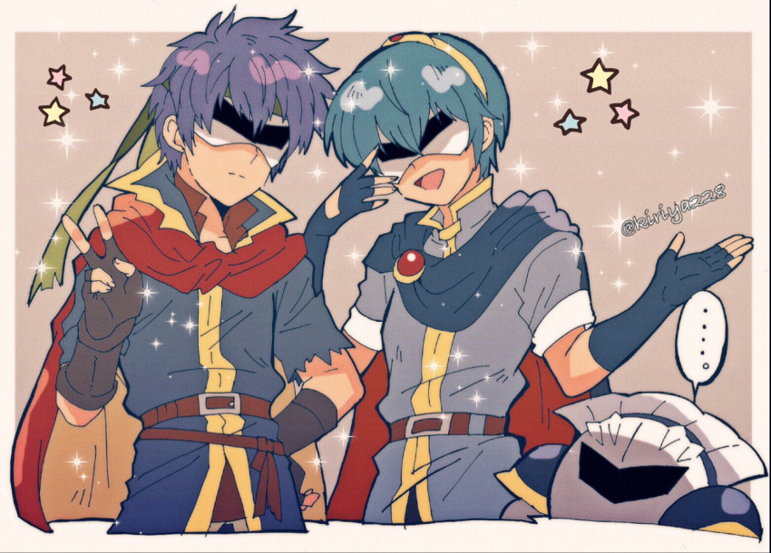 2boys armor blue_hair blush cape fingerless_gloves fire_emblem fire_emblem:_monshou_no_nazo fire_emblem:_souen_no_kiseki gloves hal_laboratory_inc. hat headband hoshi_no_kirby hoshi_no_kirby:_yume_no_izumi_no_monogatari human ike intelligent_systems kirby's_adventure kirby_(series) kirby_(specie) kiriya_(552260) knights looking_at_viewer male_focus marth mask meta_knight multiple_boys nintendo no_eyes open_mouth project_m short_hair simple_background smile sora_(company) super_smash_bros. super_smash_bros._ultimate super_smash_bros_brawl sword_boy tiara v wings yellow_eyes