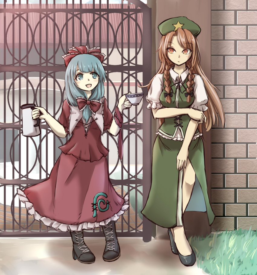 2girls :d aqua_eyes aqua_hair arms_up black_footwear boots bow braid breasts brick_wall brown_footwear commentary_request cross-laced_footwear cup day expressionless flat_cap front_ponytail gate grass green_skirt hair_bow hand_on_own_elbow hat highres holding holding_cup holding_teapot hong_meiling kagiyama_hina long_hair looking_at_another medium_breasts multiple_girls open_mouth outdoors pantyhose pigeon-toed puffy_short_sleeves puffy_sleeves red_eyes red_shirt red_skirt redhead reldy ribbon scarlet_devil_mansion shirt short_sleeves sideways_glance skirt skirt_set smile standing star teacup teapot touhou twin_braids very_long_hair white_shirt wrist_ribbon