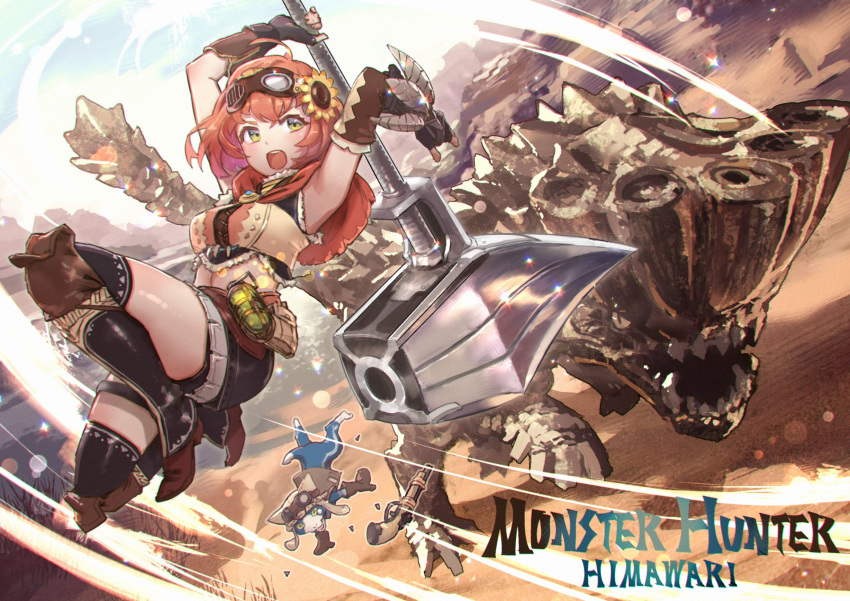 1girl action ahoge armpits barroth battle black_legwear blush boots capelet cat character_name commentary copyright_name crossover desert elbow_gloves felyne fingerless_gloves flower gloves goggles goggles_on_head green_eyes gun hair_flower hair_ornament hairclip hammer highres honma_himawari huge_weapon jumping kaburagi_yasutaka kulu-ya-ku_(armor) looking_back looking_to_the_side medium_hair midriff monster monster_hunter monster_hunter:_world nijisanji orange_hair outdoors sleeveless sunflower thigh-highs title_parody upper_teeth weapon