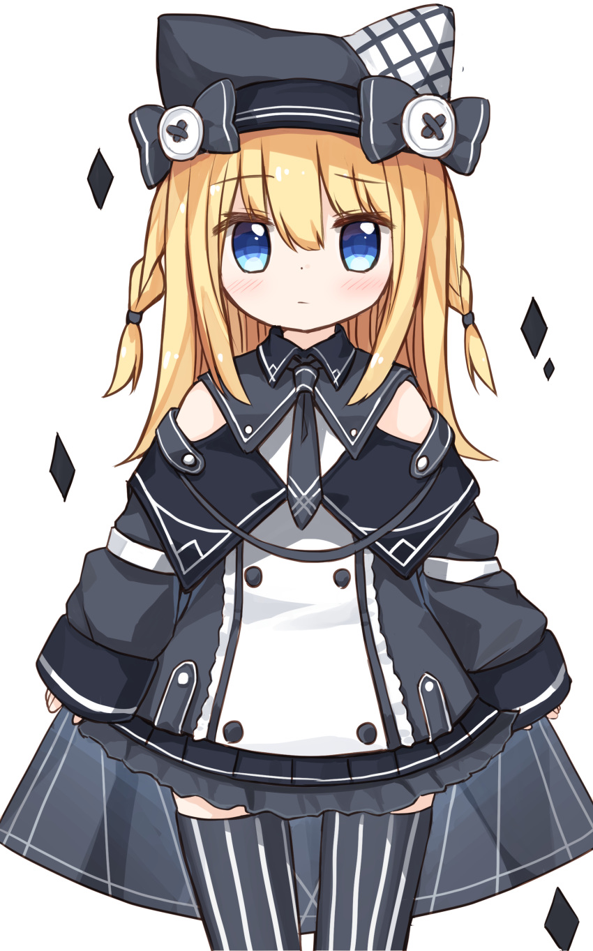 1girl absurdres bangs black_legwear blonde_hair blue_eyes blush bow braid buttons closed_mouth dress eyebrows_visible_through_hair frilled_dress frills grey_bow grey_dress grey_headwear hair_between_eyes hat hat_bow highres long_hair long_sleeves looking_at_viewer original side_braids simple_background sleeves_past_wrists solo standing striped striped_legwear thigh-highs twin_braids vertical-striped_legwear vertical_stripes white_background yuuhagi_(amaretto-no-natsu)