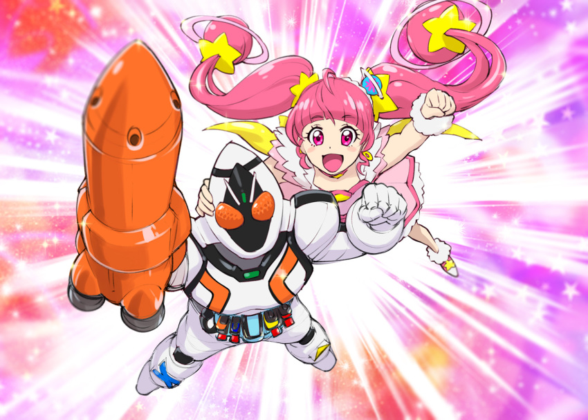 1boy 1girl :d ahoge bangs blunt_bangs blush bodysuit choker clenched_hand commentary_request company_connection cure_star dress earrings floating_hair flying hair_ornament hoshina_hikaru jewelry kamen_rider kamen_rider_fourze kamen_rider_fourze_(series) long_hair magical_girl open_mouth pink_eyes pink_hair planet_hair_ornament precure rocket smile sparkle speed_lines star star_choker star_hair_ornament star_twinkle_precure touei trait_connection twintails ueyama_michirou very_long_hair wrist_cuffs