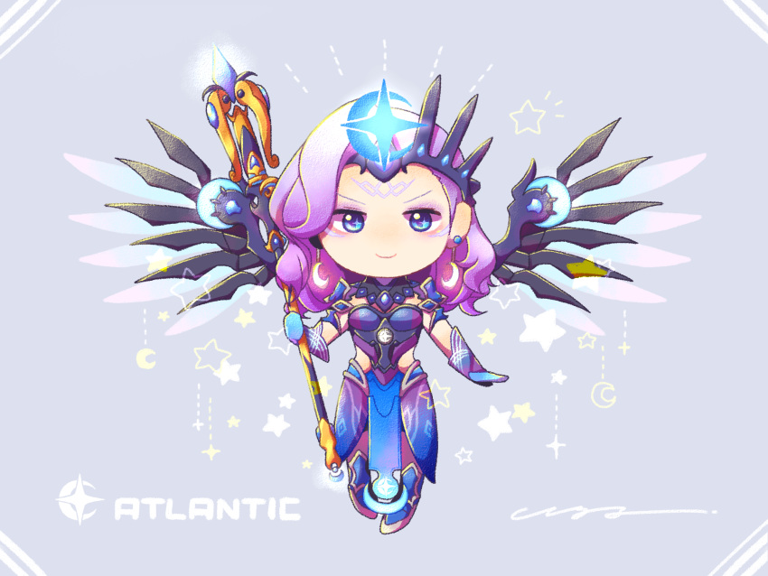 1girl alternate_costume alternate_hair_color atlantic_mercy blue_bodysuit blue_eyes blue_footwear blue_gloves blue_wings bodysuit breasts chibi crescent crescent_hair_ornament crown crown_hair_ornament earrings eyeshadow faulds full_body gloves glowing glowing_wings grey_background hair_ornament highres hm_7737_i holding holding_staff jewelry looking_at_viewer makeup mechanical_wings medium_breasts medium_hair mercy_(overwatch) overwatch pelvic_curtain pixel_art purple_hair shoulder_armor simple_background smile solo spread_wings staff star wavy_hair wings