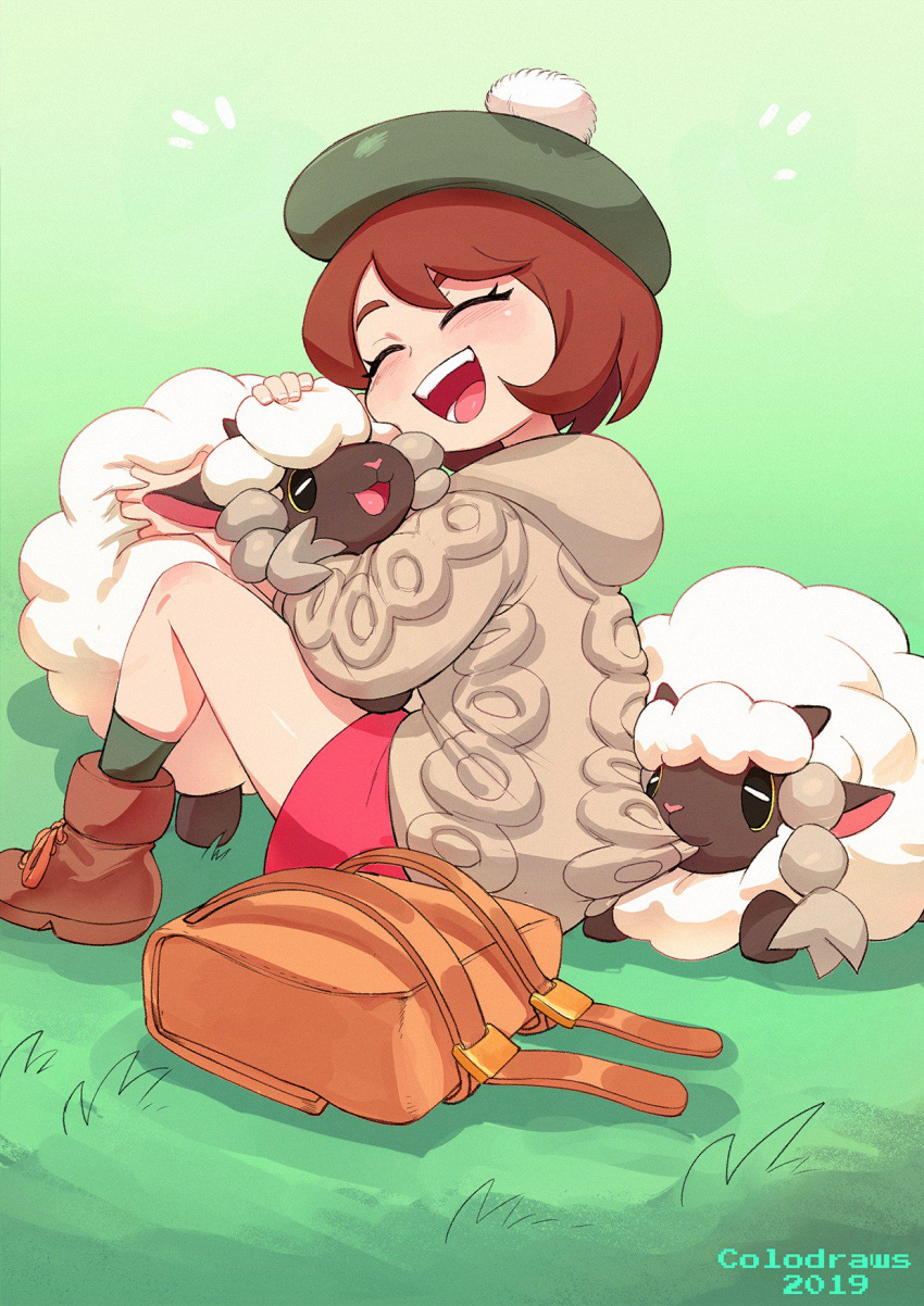 1girl backpack bag beret biting biting_clothes bobblehat brown_hair closed_eyes colo_(nagrolaz) dress female_protagonist_(pokemon_swsh) fluffy gen_8_pokemon green_headwear grey_hoodie happy hat highres hood hoodie hug pink_dress pokemon pokemon_(creature) pokemon_(game) pokemon_swsh sheep shoes short_hair smile socks wooloo