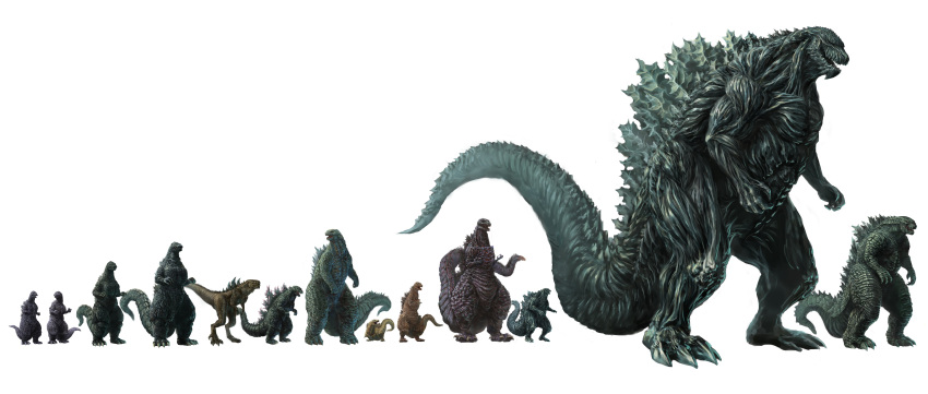 absurdres claws commentary fangs godzilla godzilla:_city_on_the_edge_of_battle godzilla:_king_of_the_monsters godzilla:_planet_of_the_monsters godzilla:_the_planet_eater godzilla_(2014) godzilla_(series) godzilla_earth highres incredibly_absurdres kaijuu monster no_humans open_mouth scales science_fiction sharp_teeth shin_godzilla size_comparison size_difference spikes tagme tail teeth tokusatsu traditional_media translation_request ultra-taf zilla