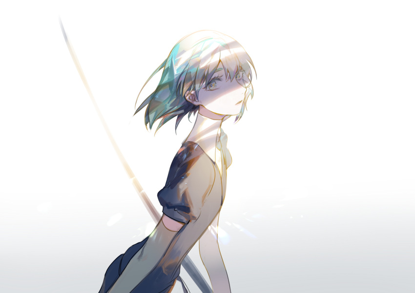 1other absurdres androgynous aqua_hair bangs black_neckwear crystal_hair ctrl_(821642) diamond_(houseki_no_kuni) elbow_gloves eyelashes eyes_in_shadow facing_to_the_side flat_chest gem_uniform_(houseki_no_kuni) glance gloves highres houseki_no_kuni looking_at_viewer looking_to_the_side medium_hair multicolored necktie parted_lips simple_background solo sword upper_body weapon white_background