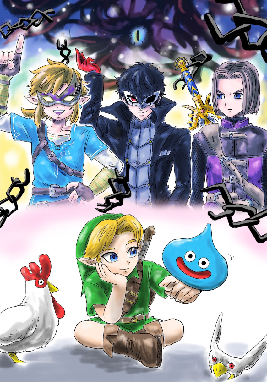 amamiya_ren bird black_hair blonde_hair blue_eyes brown_hair cape chicken crossover dragon_quest dragon_quest_xi dual_persona earrings fingerless_gloves gloves hero_(dq11) highres jewelry kicdon link looking_at_viewer male_focus mask multiple_boys pants persona persona_5 plaid plaid_pants pointy_ears ponytail red_eyes red_gloves slime slime_(dragon_quest) smile super_smash_bros. sword the_legend_of_zelda the_legend_of_zelda:_breath_of_the_wild the_legend_of_zelda:_majora's_mask the_legend_of_zelda:_ocarina_of_time tunic weapon young_link