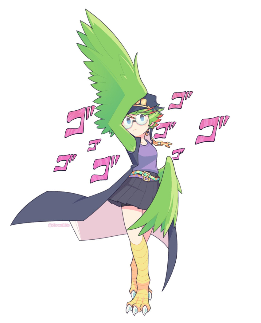 1girl amelia_(khimera) arm_above_head armpits artist_name bare_legs bike_shorts bird_legs blue_eyes chain closed_mouth collarbone cosplay eyebrows_visible_through_hair feathered_wings feathers glasses green_hair hair_between_eyes harpy hat highres jacket jojo_no_kimyou_na_bouken jojo_pose khimera_destroy_all_monster_girls kuujou_joutarou kuujou_joutarou_(cosplay) looking_at_viewer monster_girl pose short_hair skirt sleeveless solo standing stardust_crusaders twitter_username vibrantrida white_background wings